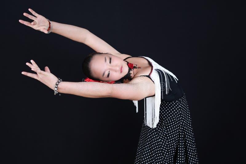 ο χορευτής χορεύει flamenco ανεμιστήρων απεικόνιση ισπανικά κοριτσιών στοκ εικόνες