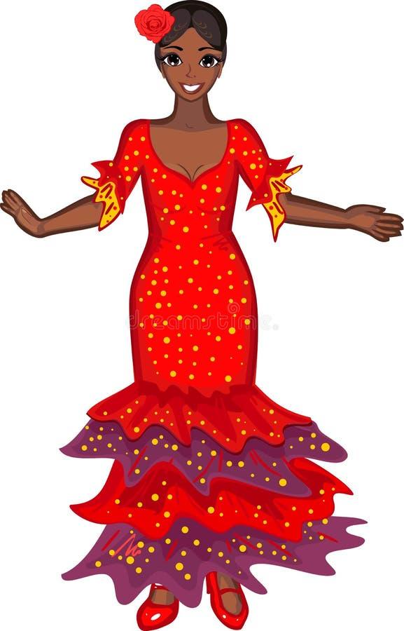 ο χορευτής χορεύει flamenco ανεμιστήρων απεικόνιση ισπανικά κοριτσιών διανυσματική απεικόνιση