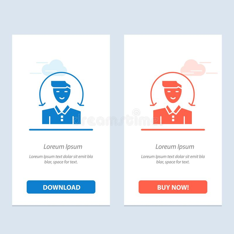 Ο χρήστης, αρσενικό, πελάτης, υπηρεσίες μπλε και κόκκινο μεταφορτώνει και αγοράζει τώρα το πρότυπο καρτών Widget Ιστού διανυσματική απεικόνιση