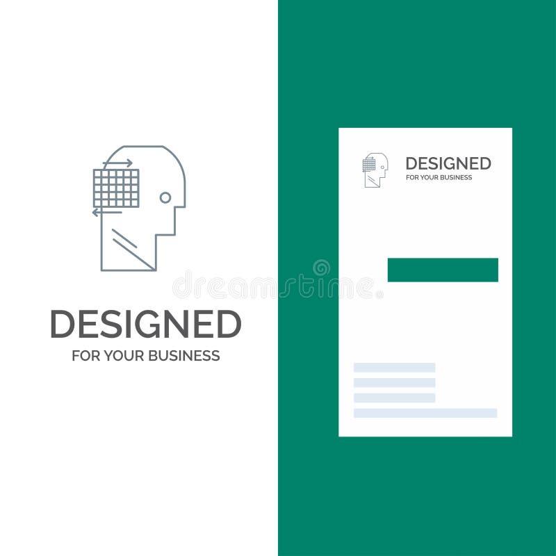 Ο χρήστης, σκέφτεται, επιτυχία, σχέδιο επιχειρησιακών γκρίζο λογότυπων και πρότυπο επαγγελματικών καρτών απεικόνιση αποθεμάτων