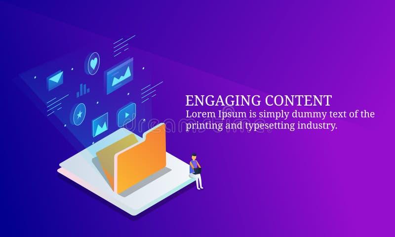 Ο χρήστης του Ίντερνετ δέσμευσε με το ψηφιακό περιεχόμενο, ψηφιακό μάρκετινγκ περιεχομένου για το ακροατήριο, isometric έννοια σχ απεικόνιση αποθεμάτων