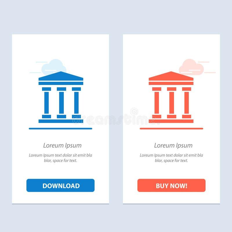 Ο χρήστης, τράπεζα, εξαργυρώνει το μπλε και το κόκκινο μεταφορτώνει και αγοράζει τώρα το πρότυπο καρτών Widget Ιστού ελεύθερη απεικόνιση δικαιώματος