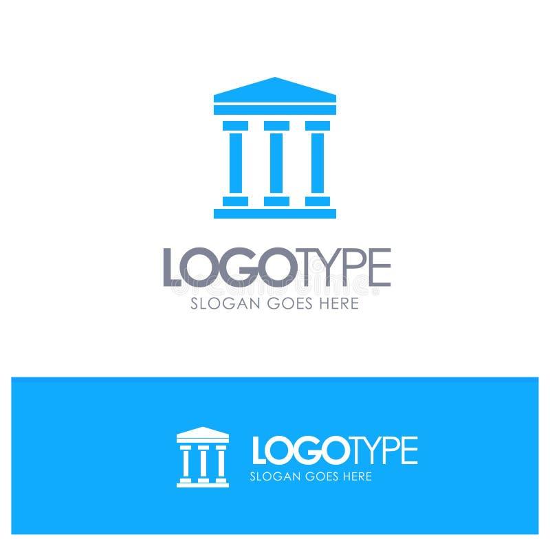 Ο χρήστης, τράπεζα, εξαργυρώνει το μπλε στερεό λογότυπο με τη θέση για το tagline διανυσματική απεικόνιση