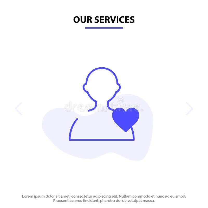 Ο χρήστης υπηρεσιών μας, αγάπη, στερεό πρότυπο καρτών Ιστού εικονιδίων Glyph καρδιών ελεύθερη απεικόνιση δικαιώματος