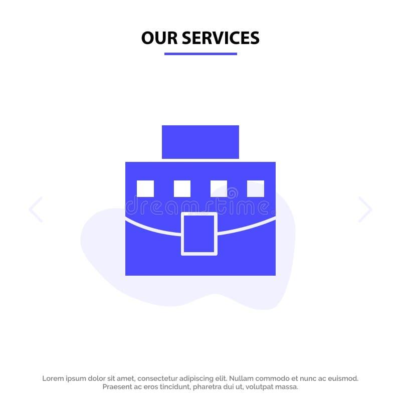 Ο χρήστης υπηρεσιών μας, τσάντα, επιχείρηση, στερεό πρότυπο καρτών Ιστού εικονιδίων Glyph γραφείων ελεύθερη απεικόνιση δικαιώματος
