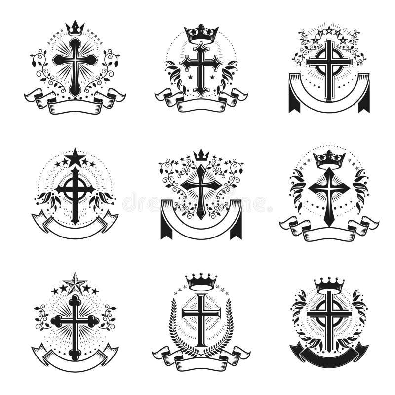 Ο Χριστιανός διασχίζει τα εμβλήματα καθορισμένα Εραλδική κάλυψη των όπλων διακοσμητική ελεύθερη απεικόνιση δικαιώματος