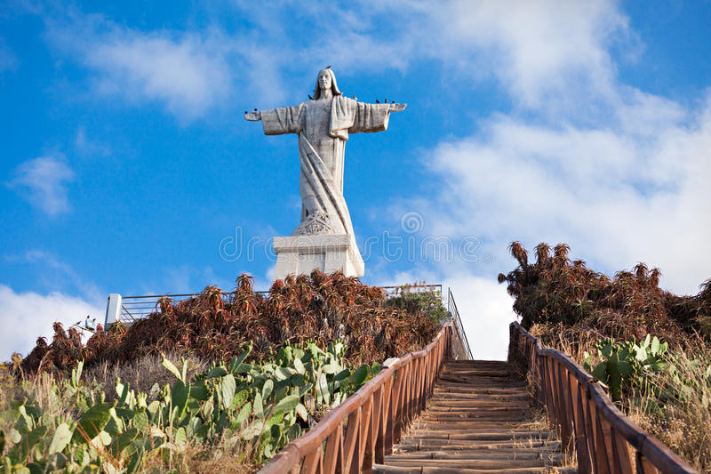 Ο Χριστός το άγαλμα βασιλιάδων στο νησί της Μαδέρας, Πορτογαλία στοκ φωτογραφίες