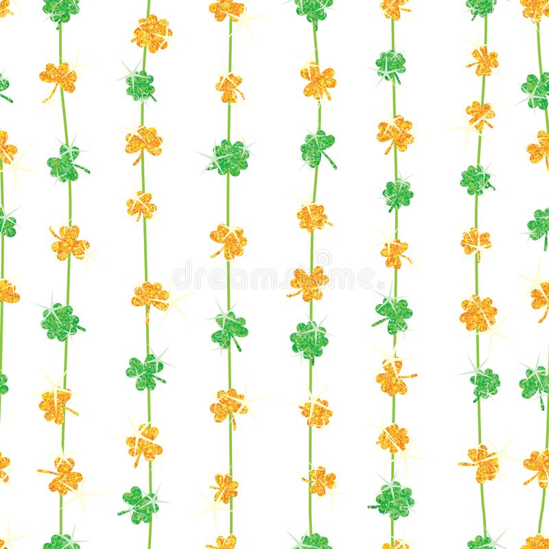 Ο χρυσός αγάπης φύλλων τριφυλλιών ακτινοβολεί κάθετο άνευ ραφής σχέδιο Πράσινων Γραμμών ελεύθερη απεικόνιση δικαιώματος
