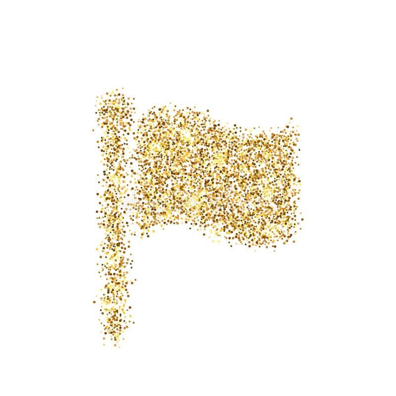 Ο χρυσός ακτινοβολεί εικονίδιο της σημαίας που απομονώνεται στο υπόβαθρο Δημιουργική απεικόνιση έννοιας τέχνης για τον Ιστό, ελαφ απεικόνιση αποθεμάτων
