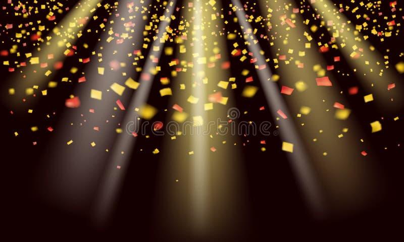 Ο χρυσός ακτινοβολεί ρεαλιστικά κομφετί και tinsel που πετούν στο μαύρο διανυσματικό γραφικό σχέδιο διακοπών Πετώντας στοιχεία σπ ελεύθερη απεικόνιση δικαιώματος