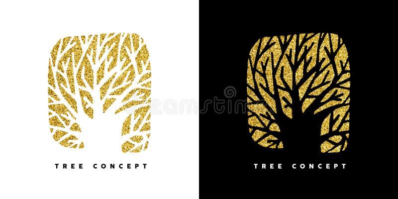 Ο χρυσός ακτινοβολεί σύμβολο έννοιας δέντρων για την προσοχή φύσης απεικόνιση αποθεμάτων
