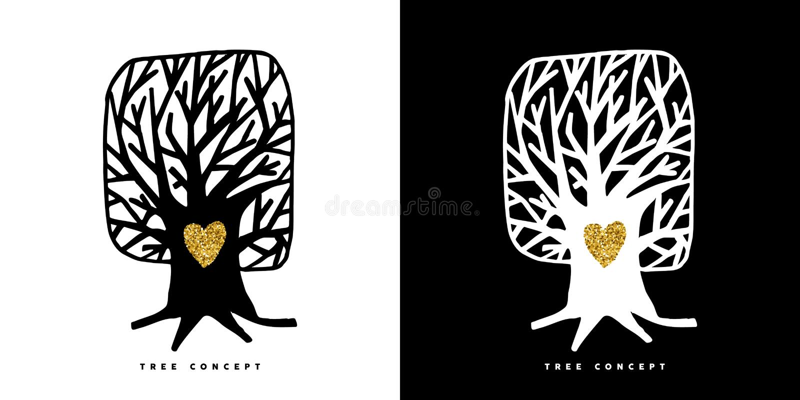 Ο χρυσός ακτινοβολεί σύμβολο έννοιας δέντρων για την προσοχή φύσης διανυσματική απεικόνιση