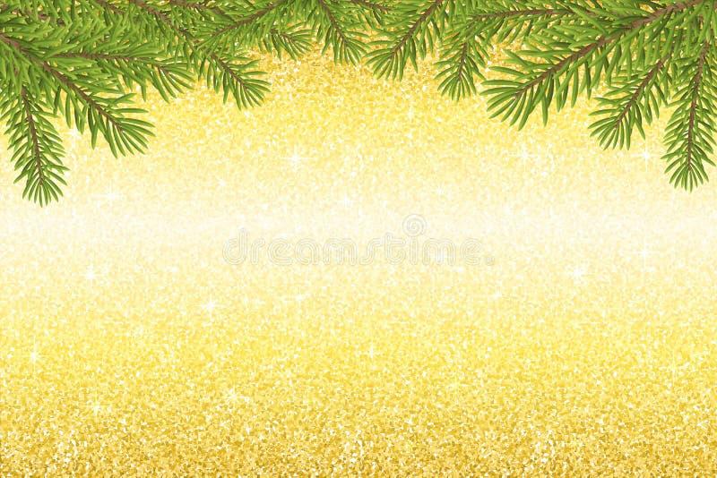 Ο χρυσός ακτινοβολεί λάμπει σύσταση με τον κλαδίσκο Χριστουγέννων απεικόνιση αποθεμάτων
