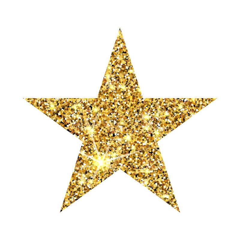 Ο χρυσός ακτινοβολεί αστέρι Χρυσό στοιχείο σχεδίου πολυτέλειας sparcle Ηλέκτρινα μόρια στοκ εικόνες