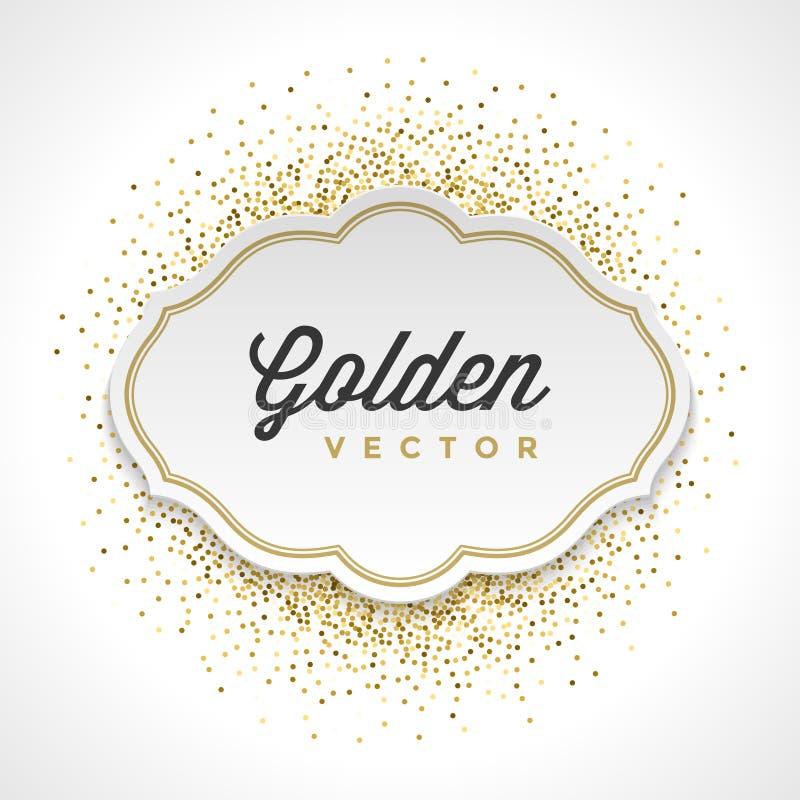 Ο χρυσός ακτινοβολεί Λευκή Βίβλος κομφετί σπινθηρισμάτων η φωτεινή διανυσματική απεικόνιση