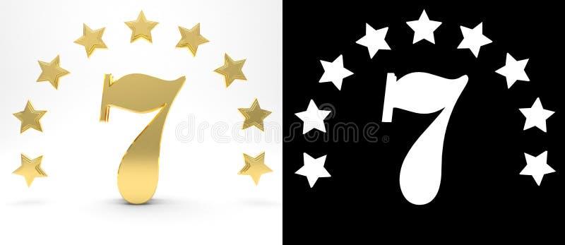 Ο χρυσός αριθμός επτά στο άσπρο υπόβαθρο με την πτώση σκιάζει και άλφα κανάλι, που διακοσμείται με έναν κύκλο των αστεριών τρισδι διανυσματική απεικόνιση