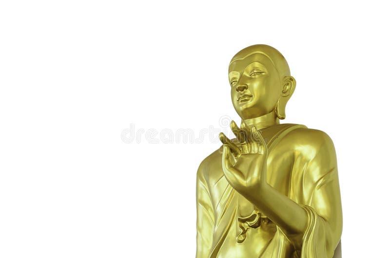 Ο χρυσός Βούδας στο άσπρο υπόβαθρο με το ψαλίδισμα της πορείας στοκ εικόνες