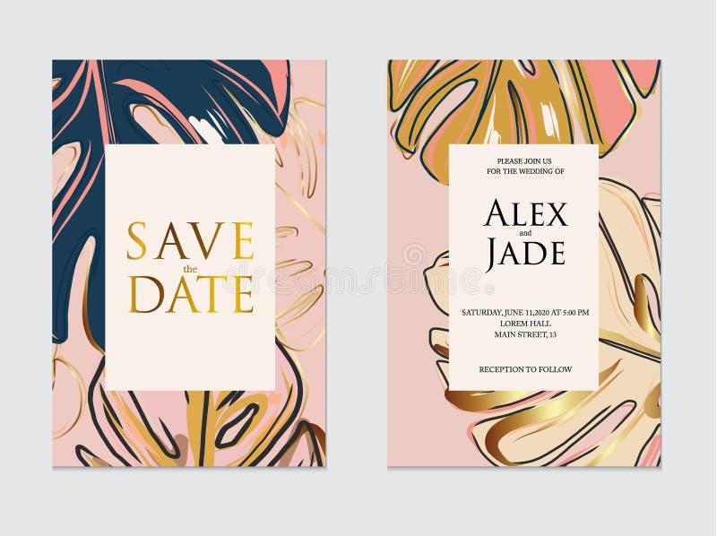 Ο χρυσός, ναυτικό, ρόδινο γαμήλιο πρότυπο, καλλιτεχνικό σχέδιο καλύψεων με το monstera φεύγει Ζωηρόχρωμα υπόβαθρα σύστασης invitt ελεύθερη απεικόνιση δικαιώματος