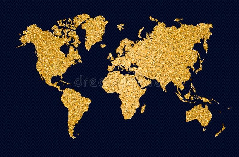Ο χρυσός παγκόσμιων χαρτών ακτινοβολεί απεικόνιση έννοιας τέχνης ελεύθερη απεικόνιση δικαιώματος