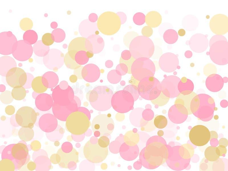 Ο χρυσός, ροζ και αυξήθηκε χρώμα γύρω από τα σημεία κομφετί, περιβάλλει τη χαοτική διασπορά διανυσματική απεικόνιση