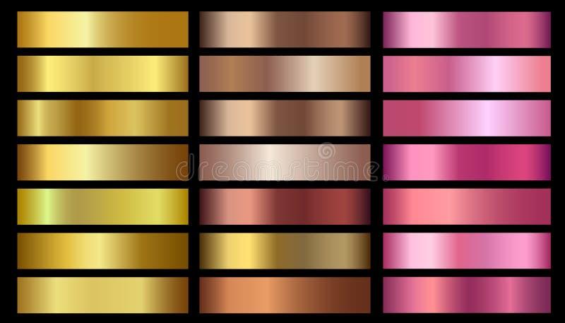 Ο χρυσός, χαλκός, αυξήθηκε χρυσές μεταλλικές διανυσματικές κλίσεις σύστασης φύλλων αλουμινίου καθορισμένες διανυσματική απεικόνιση