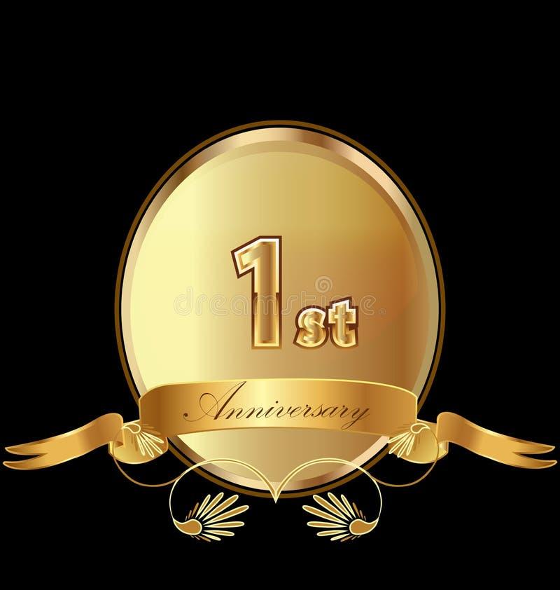 1$ο χρυσό διάνυσμα εικονιδίων σφραγίδων γενεθλίων επετείου ελεύθερη απεικόνιση δικαιώματος