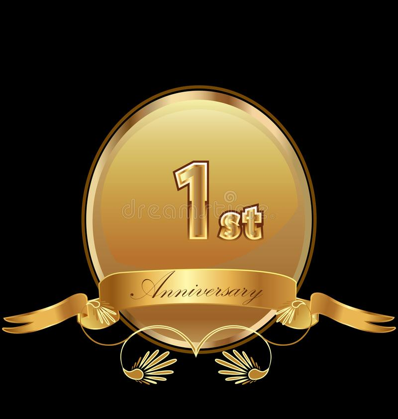 1$ο χρυσό διάνυσμα εικονιδίων σφραγίδων γενεθλίων επετείου διανυσματική απεικόνιση
