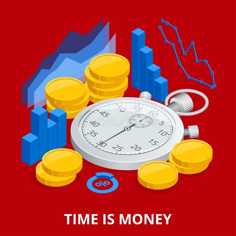 Ο χρόνος είναι έννοια χρημάτων ισορροπώντας χρόνος χρημάτων Επίπεδη διανυσματική isometric απεικόνιση ελεύθερη απεικόνιση δικαιώματος