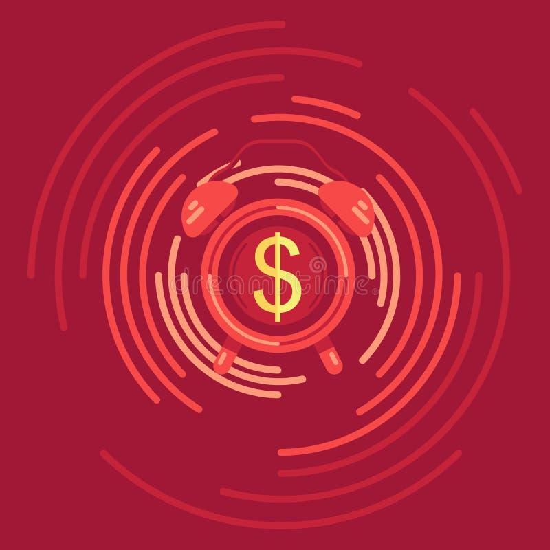 Ο χρόνος είναι απεικόνιση χρημάτων Επίπεδο αντικείμενο σχεδίου ξυπνητηριών απεικόνιση αποθεμάτων