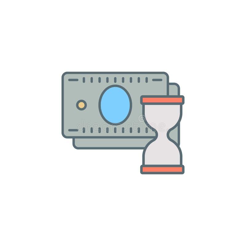ο χρόνος είναι εικονίδιο γραμμών ύφους σούρουπου χρημάτων Στοιχείο του τραπεζικού εικονιδίου για την κινητούς έννοια και τον Ιστό απεικόνιση αποθεμάτων