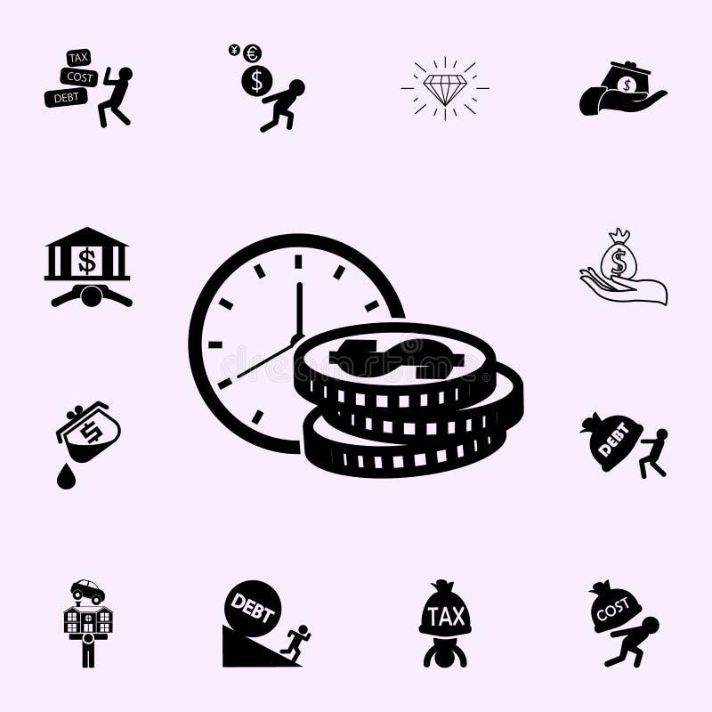 Ο χρόνος είναι εικονίδιο χρημάτων Καθολικό εικονιδίων κέρδους που τίθεται για τον Ιστό και κινητό διανυσματική απεικόνιση