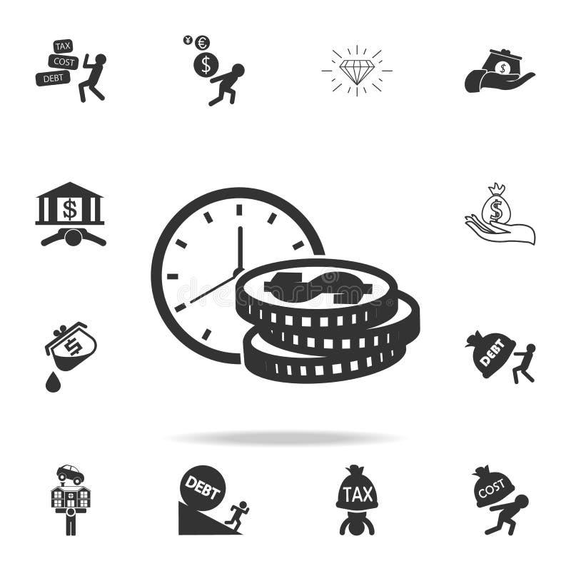 Ο χρόνος είναι εικονίδιο χρημάτων Λεπτομερές σύνολο εικονιδίων στοιχείων χρηματοδότησης, τραπεζικών εργασιών και κέρδους Γραφικό  ελεύθερη απεικόνιση δικαιώματος