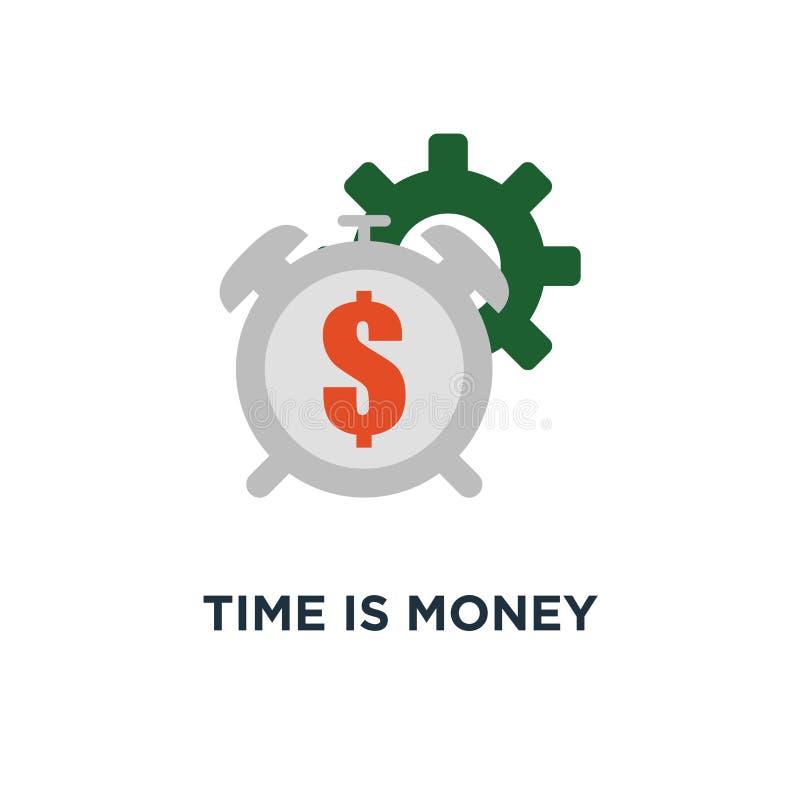 Ο χρόνος είναι εικονίδιο χρημάτων μακροπρόθεσμη επένδυση, χρονική διαχείριση, σχέδιο συμβόλων έννοιας σχεδίου, οικονομικός μελλον ελεύθερη απεικόνιση δικαιώματος