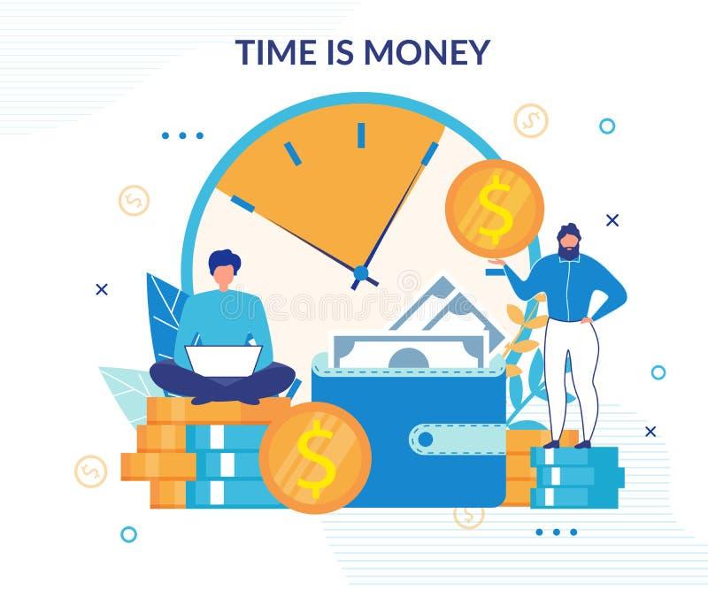 Ο χρόνος είναι εισοδηματική σχεδιασμένη αύξηση επίπεδη αφίσα χρημάτων διανυσματική απεικόνιση