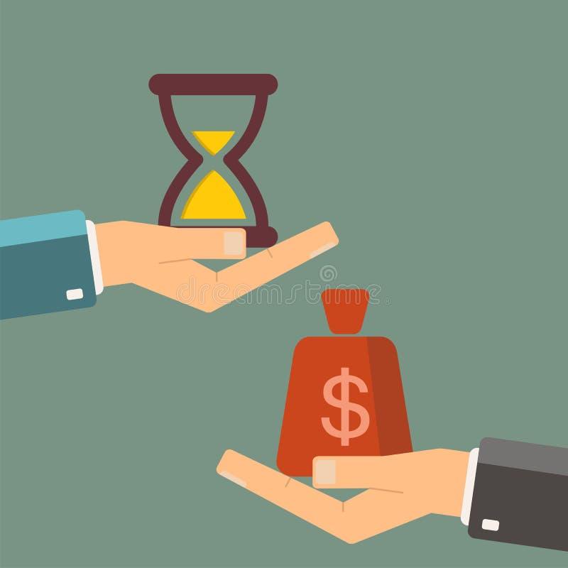 Ο χρόνος είναι επιχειρησιακή έννοια χρημάτων Επιχειρηματίας που αγοράζει το χρόνο για διανυσματική απεικόνιση