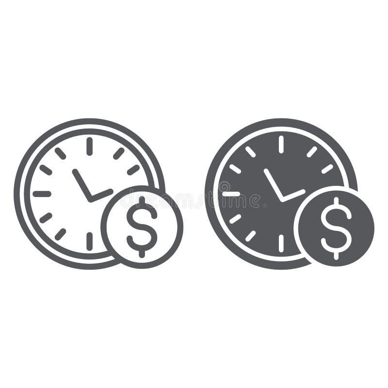 Ο χρόνος είναι σημάδι γραμμών και glyph εικονιδίων, ώρας και χρηματοδότησης, ρολογιών και δολαρίων χρημάτων, διανυσματική γραφική διανυσματική απεικόνιση