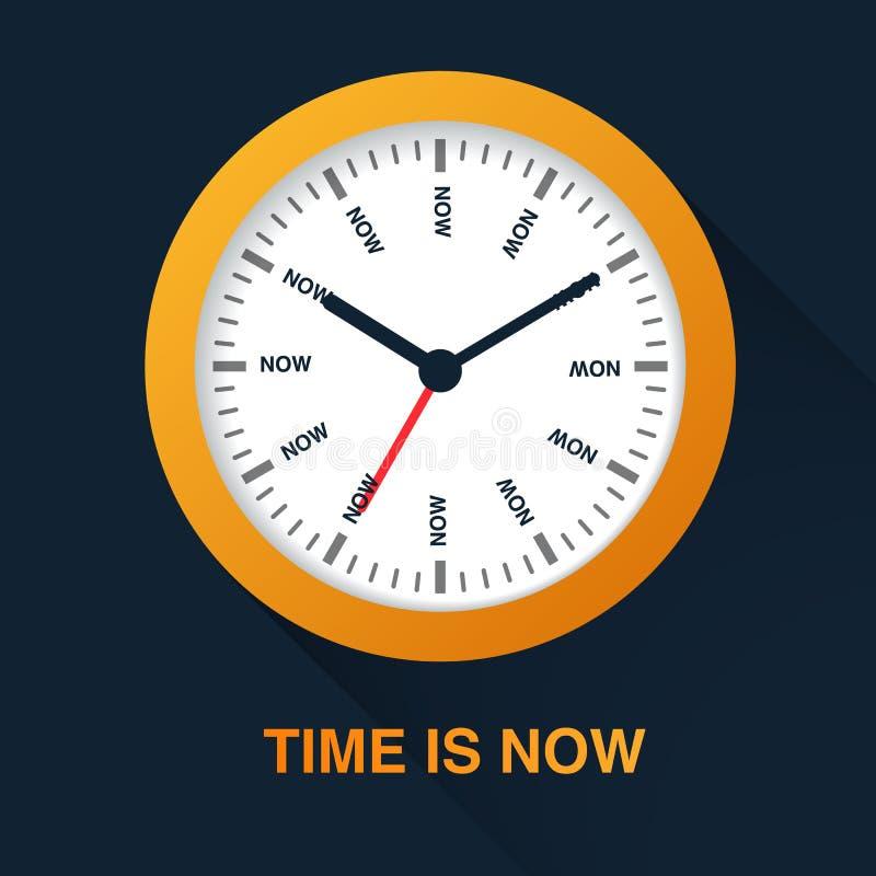 Ο χρόνος είναι τώρα έννοια Απεικόνιση συμβόλων ρολογιών στο σκοτεινό υπόβαθρο Χρονική διαχείριση απεικόνιση αποθεμάτων