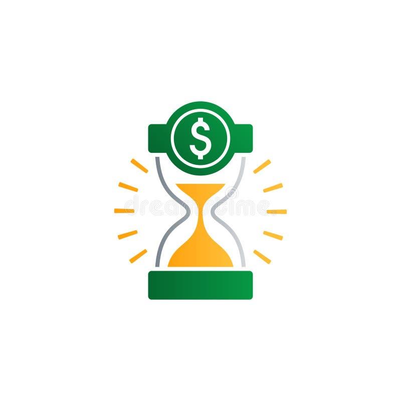 Ο χρόνος είναι χρήματα, έννοια χρηματοδότησης, λογαριασμός ταμιευτηρίου τραπεζών, ασφάλεια και συνταξιοδοτική ιδέα ελεύθερη απεικόνιση δικαιώματος