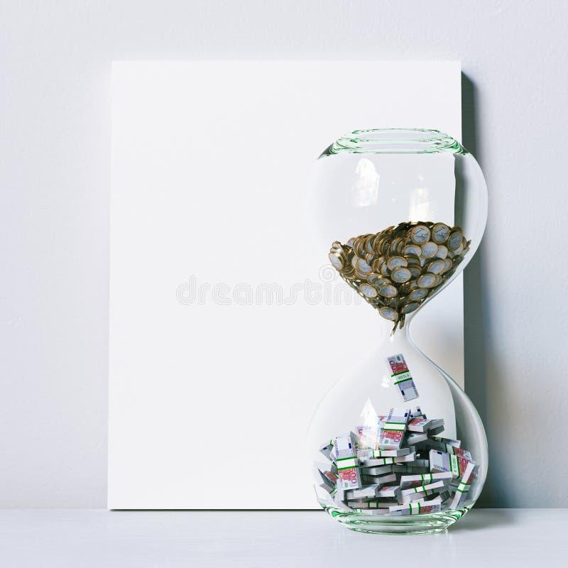 Ο χρόνος είναι χρήματα Εννοιολογική εικόνα με τη χλεύη επάνω στην αφίσα τρισδιάστατος δώστε στοκ εικόνες
