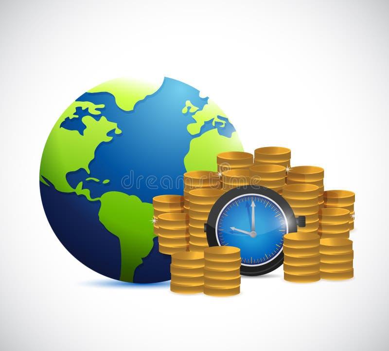 Ο χρόνος είναι χρήματα σε όλο τον κόσμο ελεύθερη απεικόνιση δικαιώματος