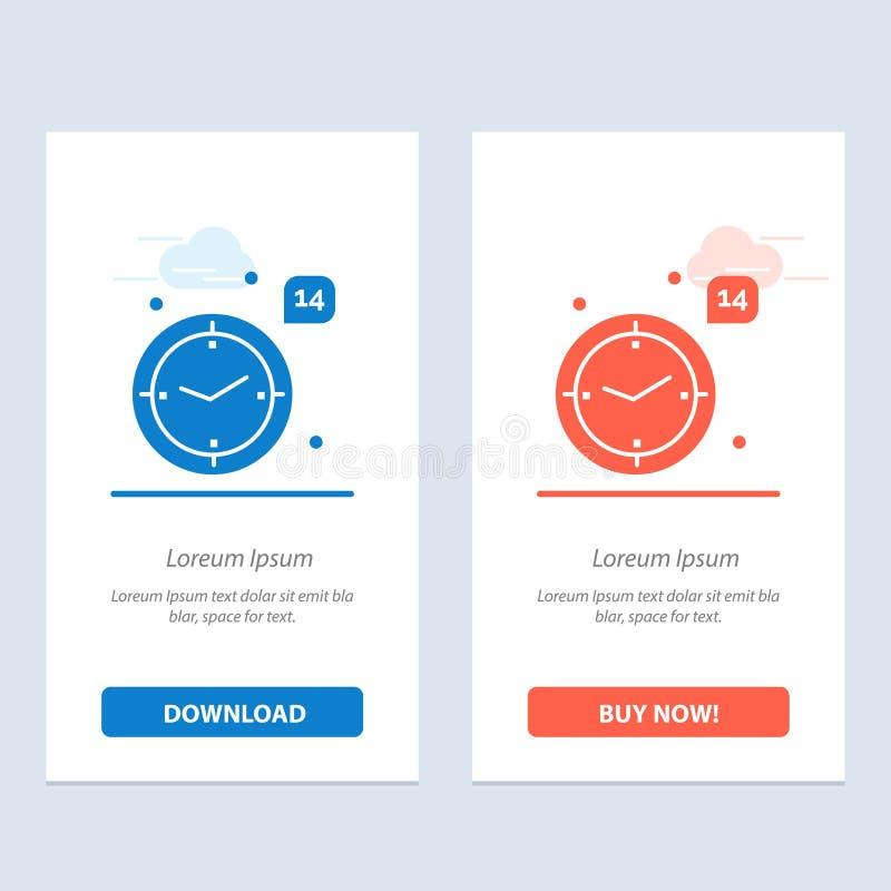 Ο χρόνος, η αγάπη, ο γάμος, η καρδιά μπλε και το κόκκινο μεταφορτώνουν και αγοράζουν τώρα το πρότυπο καρτών Widget Ιστού απεικόνιση αποθεμάτων