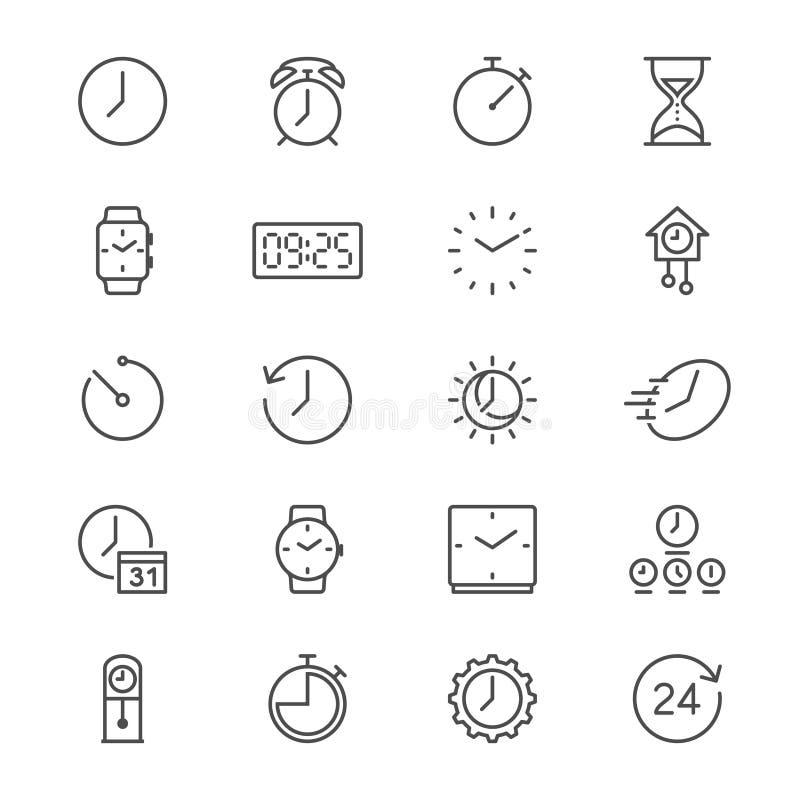 Ο χρόνος και το ρολόι λεπταίνουν τα εικονίδια ελεύθερη απεικόνιση δικαιώματος
