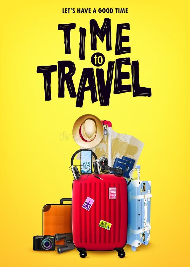Ο χρόνος να ταξιδεφθεί η μπροστινή άποψη έννοιας αφισών τουρισμού με το κόκκινο τρισδιάστατο ταξίδι τοποθετεί σε σάκκο και ρεαλισ διανυσματική απεικόνιση