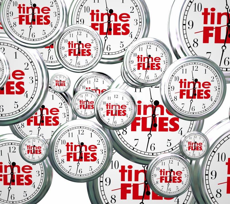 Ο χρόνος πετά την τρισδιάστατη ρολογιών έννοια ταχύτητας λέξεων μελλοντική προηγούμενη παρούσα απεικόνιση αποθεμάτων