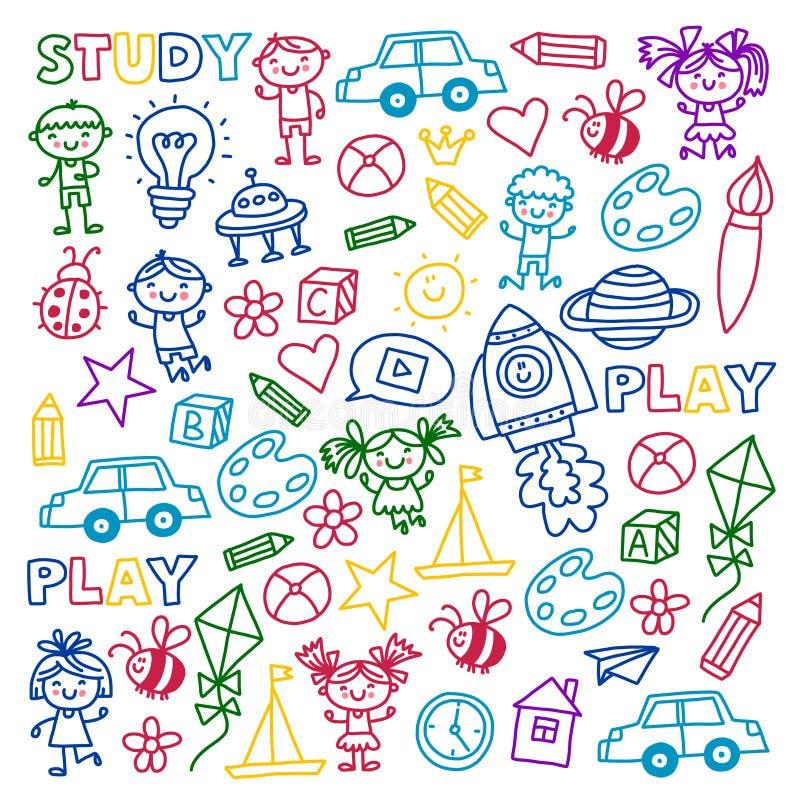 Ο χρόνος στα μικρά παιδιά δημιουργικότητας φαντασίας περιπέτειας παίζει τα προσχολικά σχολικά παιδιά παιδικών σταθμών βρεφικών στ ελεύθερη απεικόνιση δικαιώματος