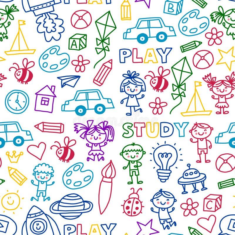 Ο χρόνος στα μικρά παιδιά δημιουργικότητας φαντασίας περιπέτειας παίζει τα προσχολικά σχολικά παιδιά παιδικών σταθμών βρεφικών στ διανυσματική απεικόνιση