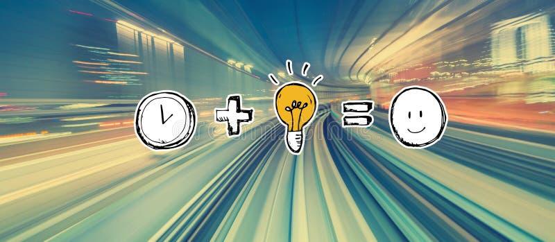 Ο χρόνος συν την ιδέα είναι ίσος με ευχαριστημένο από τη θαμπάδα κινήσεων υψηλής ταχύτητας ελεύθερη απεικόνιση δικαιώματος