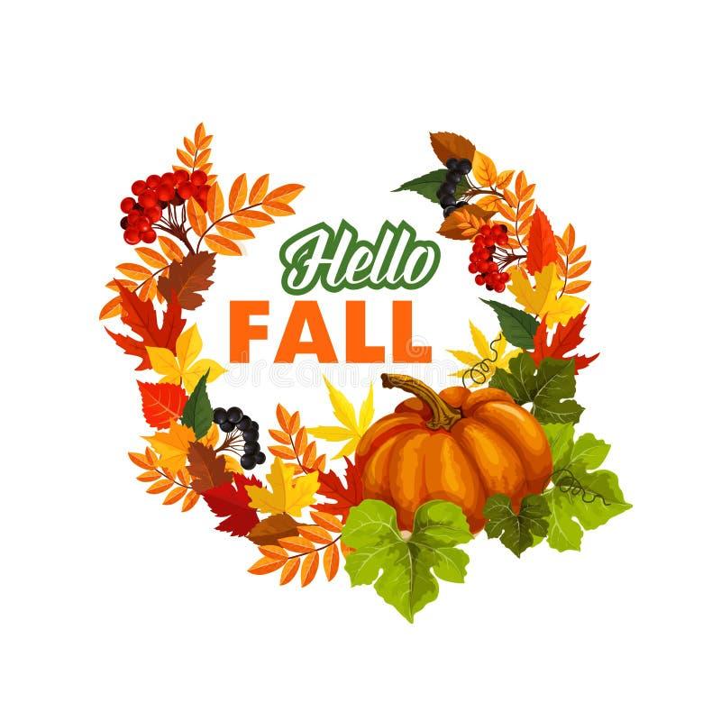 Ο χρόνος φθινοπώρου γειά σου πέφτει διανυσματική αφίσα χαιρετισμού απεικόνιση αποθεμάτων