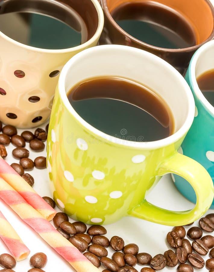 Ο χυμός καφέ παρουσιάζει καφέδες Espresso και Decaf στοκ εικόνες