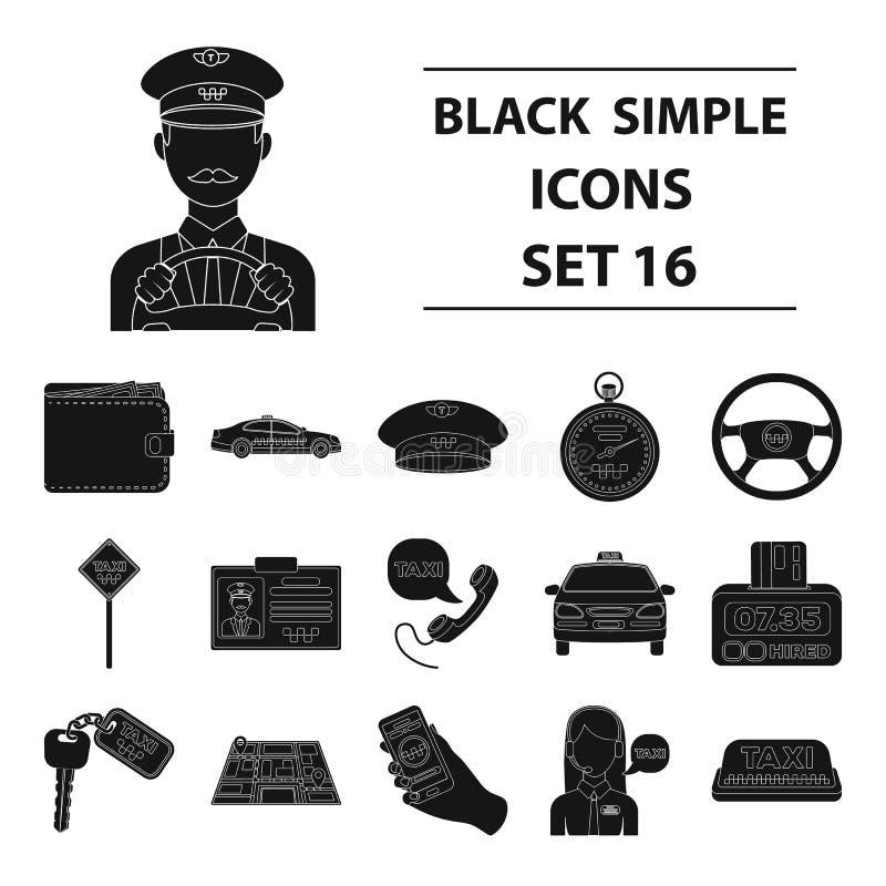 Ο χώρος στάθμευσης, αποστολέας, ταξιτζής είναι όλοι για την υπηρεσία ταξί Καθορισμένα εικονίδια συλλογής ταξί στο μαύρο απόθεμα σ απεικόνιση αποθεμάτων
